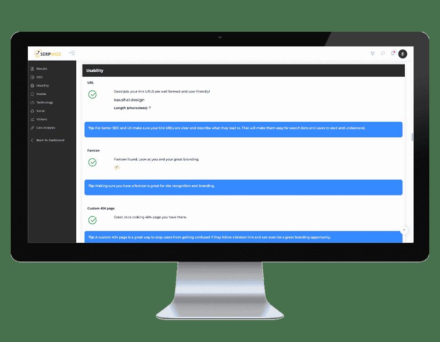 Serpwizz - usability dashboard